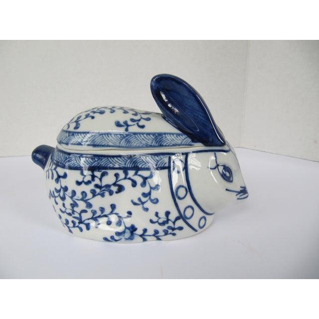Asian Blue & White Porcelain Rabbit Lided Box For Sale - Image 3 of 6