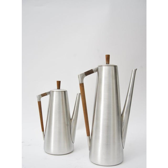 Silver Modern Pewter and Mahogany Coffee and Tea Service by KMD Royal Holland - 5 Pc. Set For Sale - Image 8 of 13