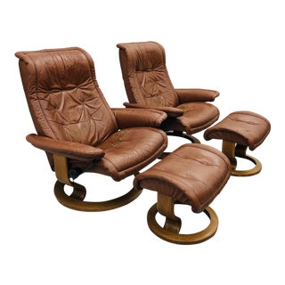 Pair Vtg Mid Century Modern Ekornes Lounge Chairs & Ottomans For Sale