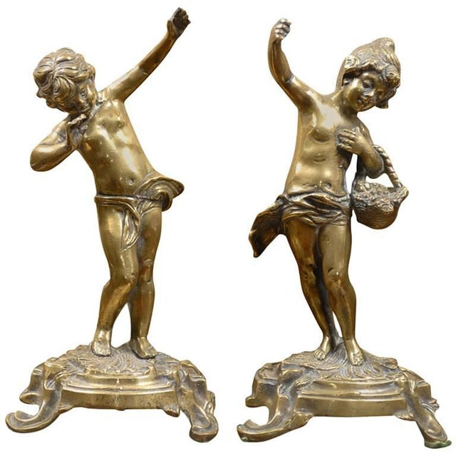 French Bronze Rococo Figurines - a Pair For Sale - Image 11 of 11