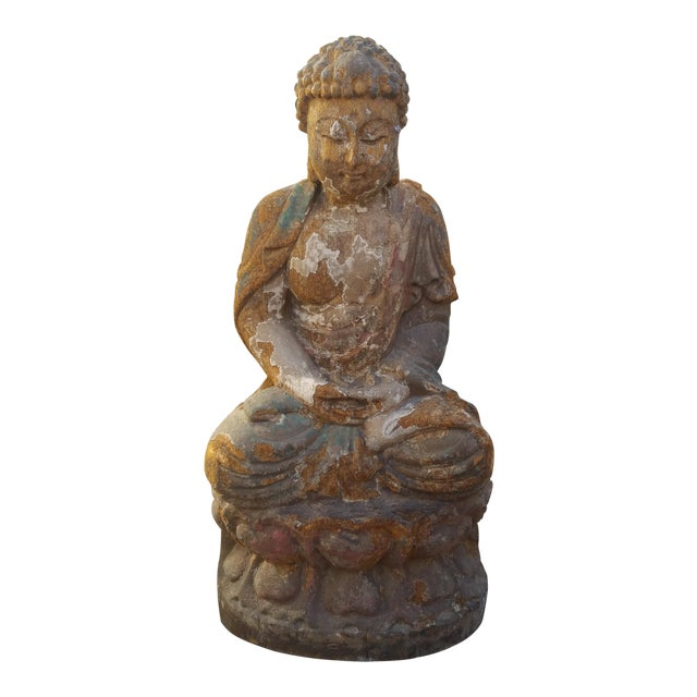 Vintage Distressed Wood Quan Yin Statue - Image 1 of 5