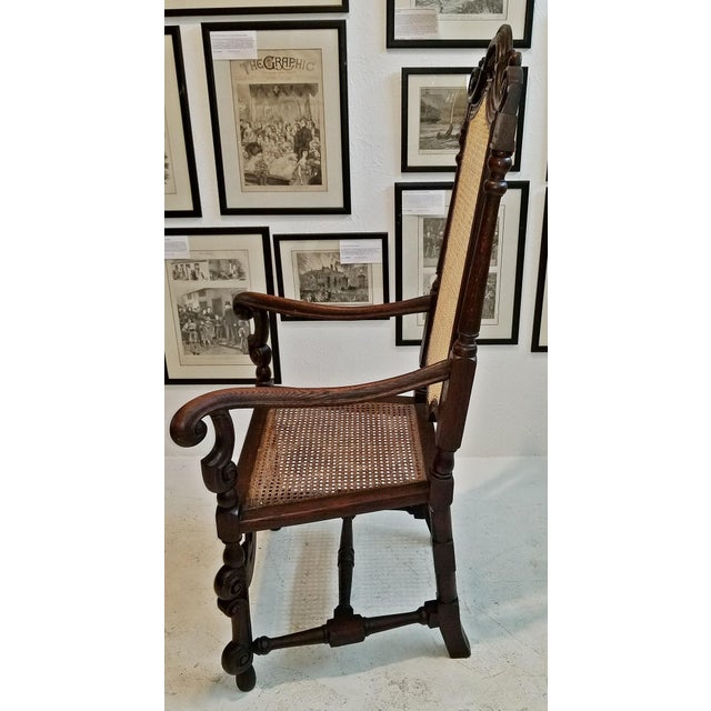 17th Century English William & Mary Oak and Cane Armchair For Sale - Image 9 of 13