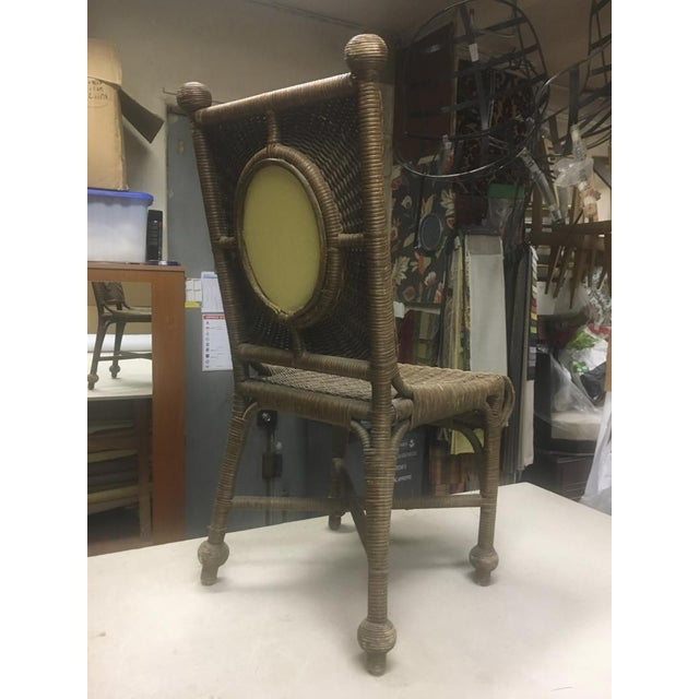 Set of 10 Rare 1940s Rattan Dining Chairs in Vintage Condition For Sale - Image 4 of 7
