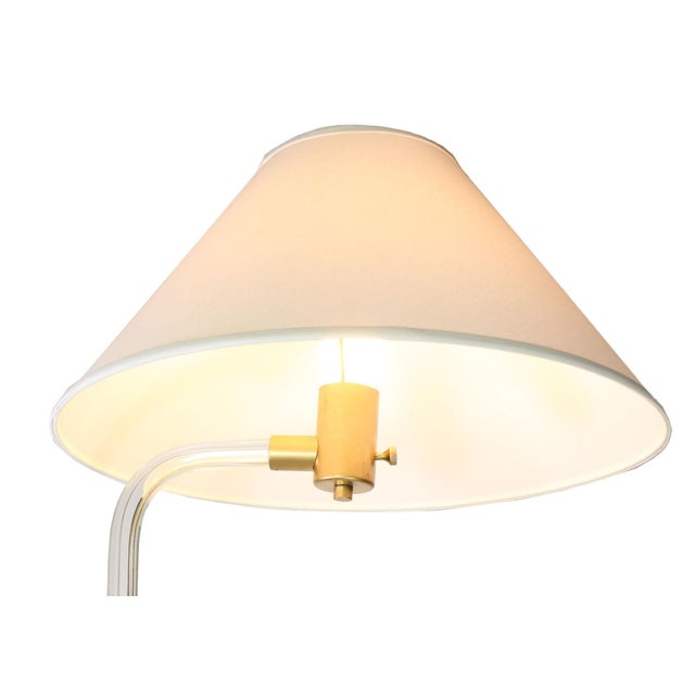 1970s 1970's Peter Hamburger Modernist Lucite & Brass Floor Lamp by Knoll For Sale - Image 5 of 7