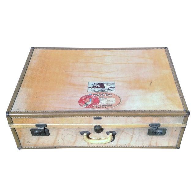 Vintage Vellum Parchment Luggage by Hartman For Sale