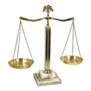 Vintage Solid Brass and White Marble Justice Scale For Sale
