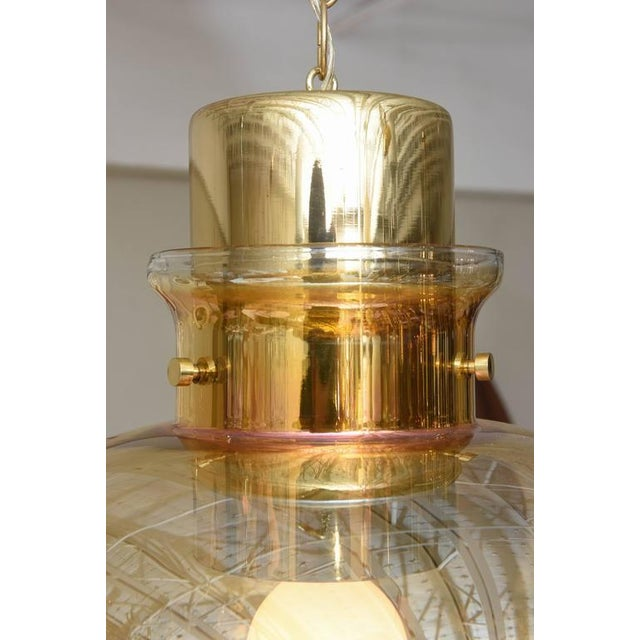 Large 1970s Brass and Amber Glass American Modernist Pendant For Sale - Image 10 of 10