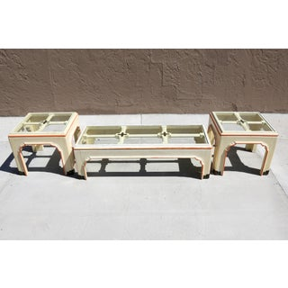 1960s Hollywood Regency Pagoda Cocktail Table W Brass Inlay and Glass Includes Side Tables - Set of 3 Preview
