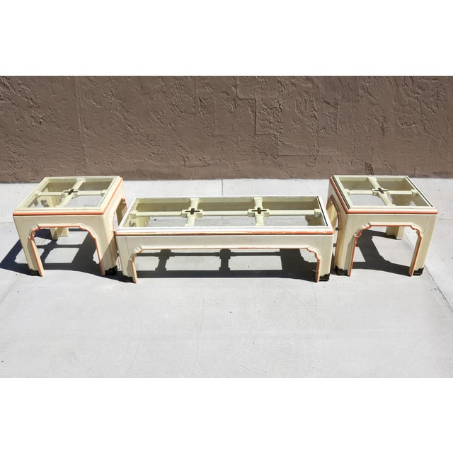 Mid-Century modern Chinoiserie style cocktail table and two side tables, C. 1960s-70s, by Minimalist with Oriental...