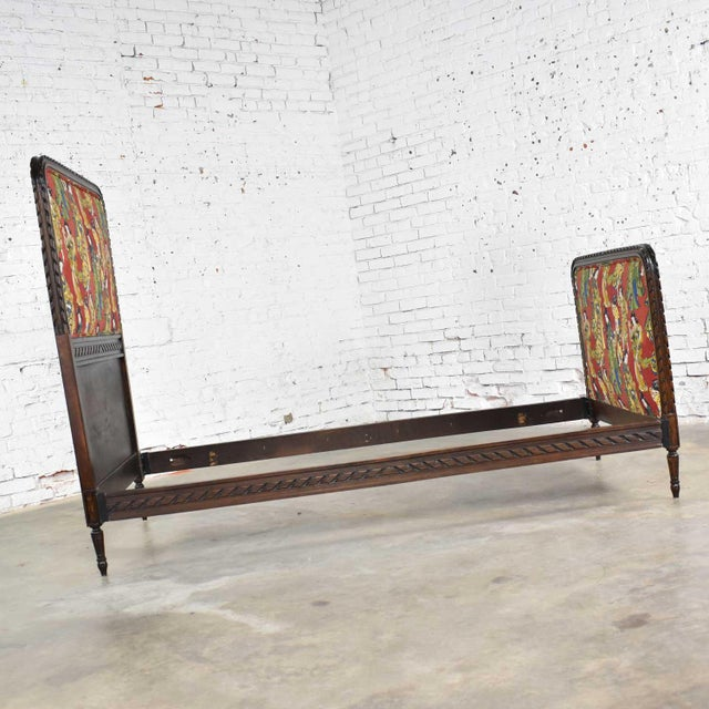 Antique French Carved Walnut and Upholstered Twin Bed With Asian Figural Fabric For Sale - Image 6 of 13