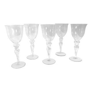 Air Stem Bubble Stem Wine/Water Glasses - Set of 5 For Sale