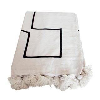 Moroccan Black on White Pom Pom Blanket