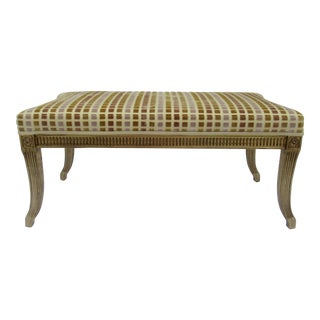 C1990's Gilt French Neoclassical, Empire Style Bench With Geometric Square, Cut Velvet Textile by Interior Crafts-Final Markdown For Sale