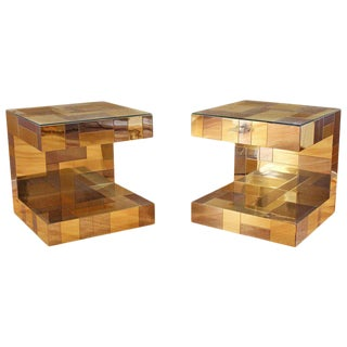 Paul Evans for Directional Cityscape Brass Chrome Nightstands / Side Tables - a Pair For Sale
