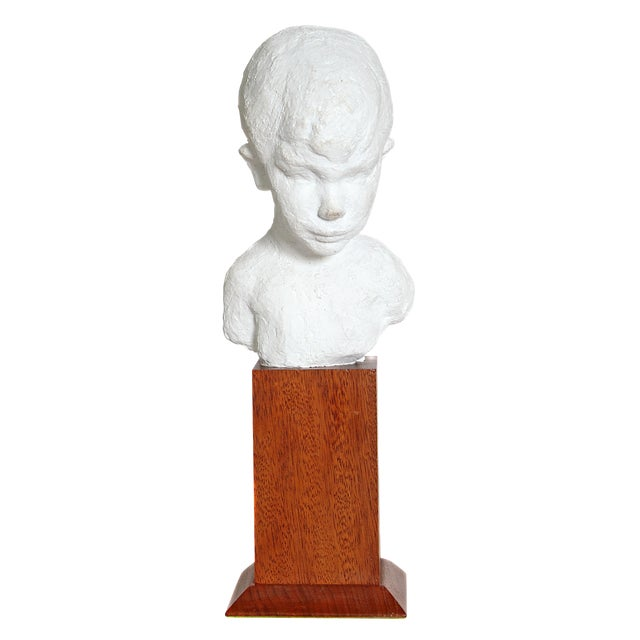 Bust of Young Boy on Mahogany Stand For Sale
