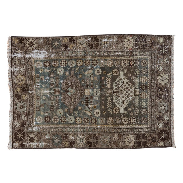 """Vintage Distressed Malayer Rug - 3'3"""" X 4'7"""" For Sale"""