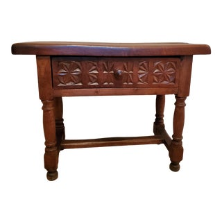 Rustic Spanish Baroque 19th Century Carved Walnut Table or Bench For Sale