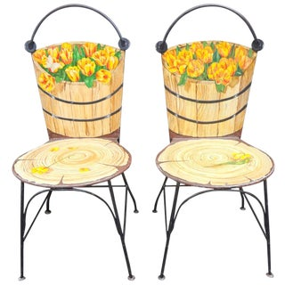 1950's John Vesey Trompe l'Oeil Painted Iron Chairs - a Pair For Sale