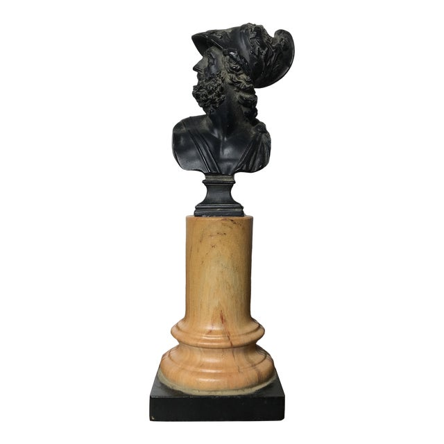 20th Century Grand Tour Tall Marbleized Column With Roman Warrior Bust For Sale