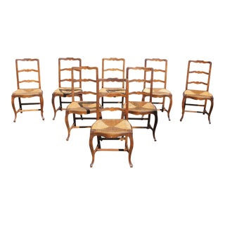 1910s Vintage French Country Rush Seat Solid Walnut Dining Chairs- Set of 8 For Sale
