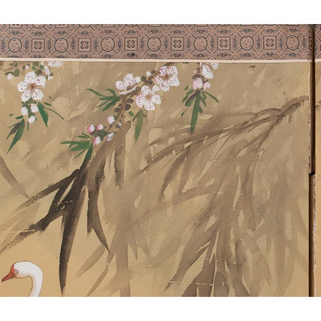 C. 1940s Chinoiserie Swan Screen For Sale - Image 9 of 13
