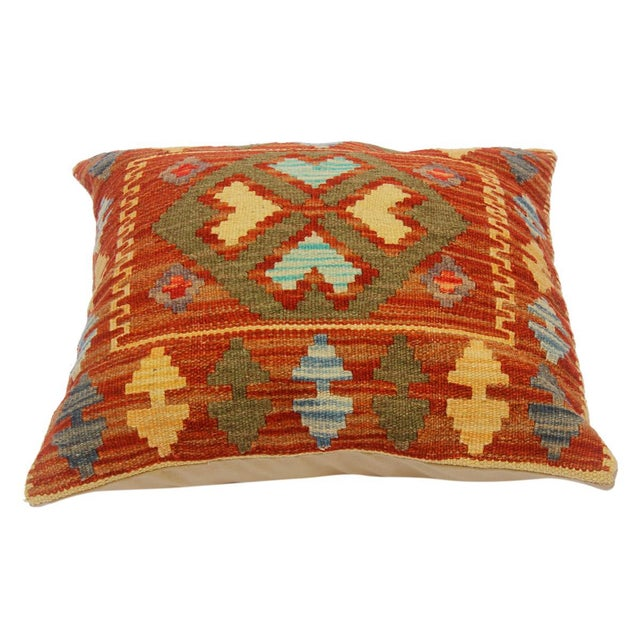 "Chi Rust/Gold Hand-Woven Kilim Throw Pillow(18""x18"") For Sale - Image 4 of 6"