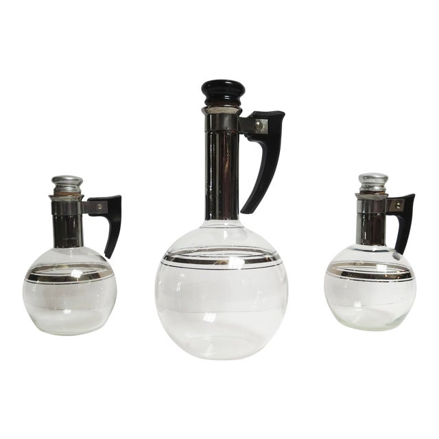 Art Deco Wine or Coffee Decanters Trio For Sale