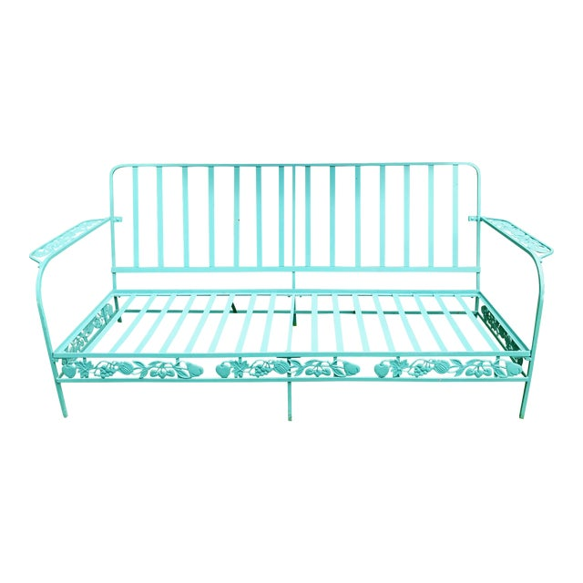 Vintage Woodard Style Blue Wrought Iron Sofa With Harvest Motif For Sale
