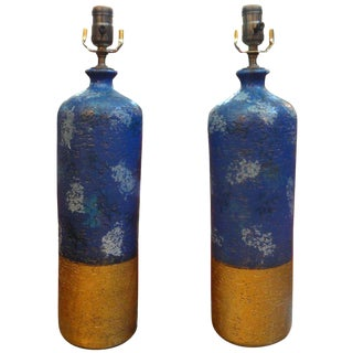 1960s Vintage Italian Aldo Londi for Bitossi Pottery Lamps - a Pair For Sale