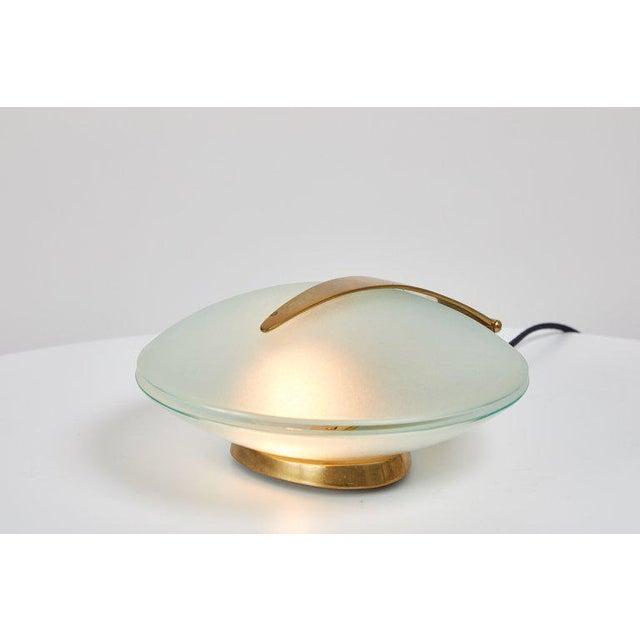 Fontana Arte 1960s Vintage Max Ingrand for Fontana Arte Glass and Brass Shell Table Lamp For Sale - Image 4 of 13