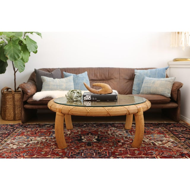 Gabriella Crespi Style Rattan & Bamboo Pencil Reed Coffee Table - Image 3 of 10