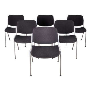 1960s Set of 6 Italian Giancarlo Piretti for Anonima Castelli Office Chairs For Sale