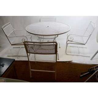 5 Pc. Neoclassic Hollywood Regency Patio Dining Set of Cast Aluminum and Steel Preview