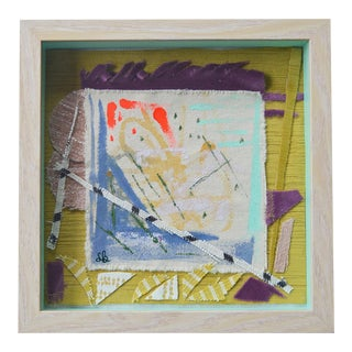 """2010s Abstract Framed Mixed Media Work, """"Making Plans"""" by Sally Bunting 9' X 9'"""