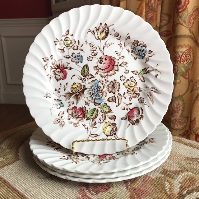 4 Staffordshire Bouquet England Ironstone Dinner Plates For Sale - Image 5 of 5