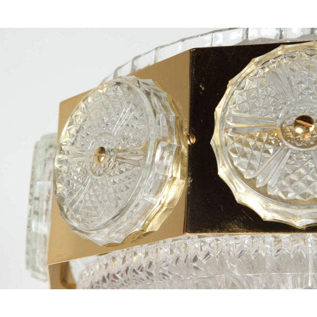 Gold Brass Orrefors Brass & Glass Ceiling Light Fixture For Sale - Image 8 of 9