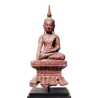 Antique Burmese Lacquered Wood Buddha For Sale
