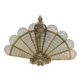 French Baroque Style Bronze Fan Fire Screen For Sale