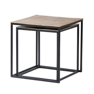 Brass & Black Nesting Tables For Sale