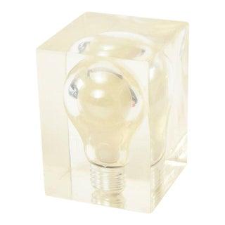 Pierre Giraudon French Pop Art Lucite Light Bulb Sculpture/ Paperweight