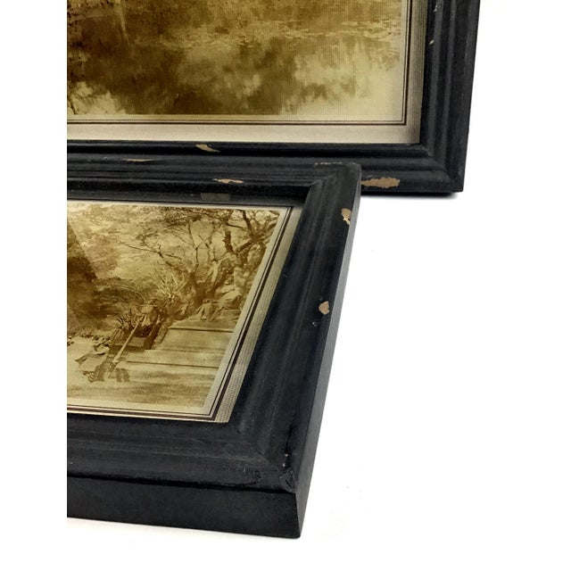 Rustic Framed Reversed Screen Prints on Glass - a Pair For Sale In Boston - Image 6 of 7