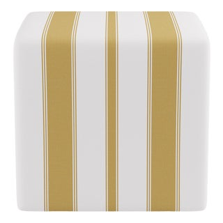 Cube Ottoman in Citrine Clarence Stripe For Sale