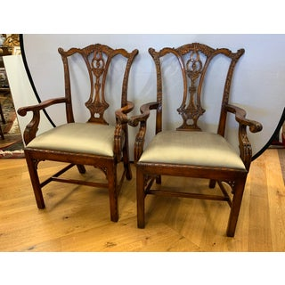 1990s Vintage Theodore Alexander Carved Chippendale Armchairs- A Pair Preview