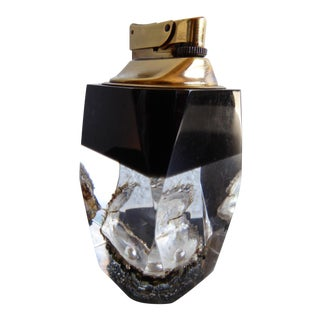 Lucite & Brass Multi Faceted Pearl in Shell Cigarette Lighter For Sale