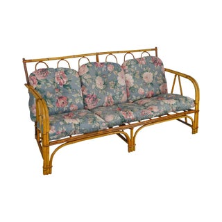 Ward Wicker Antique Split Reed Rattan Sofa For Sale