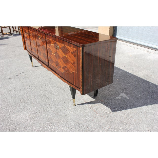 1940s Art Deco Exotic Macassar Ebony Mother-Of-Pearl Sideboard For Sale - Image 10 of 13