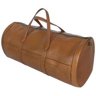Hermes Brown Leather Travel Bag, 1960s For Sale