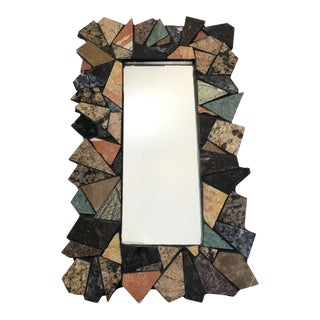 Geometric Cut Marble Mosaic Mirror For Sale