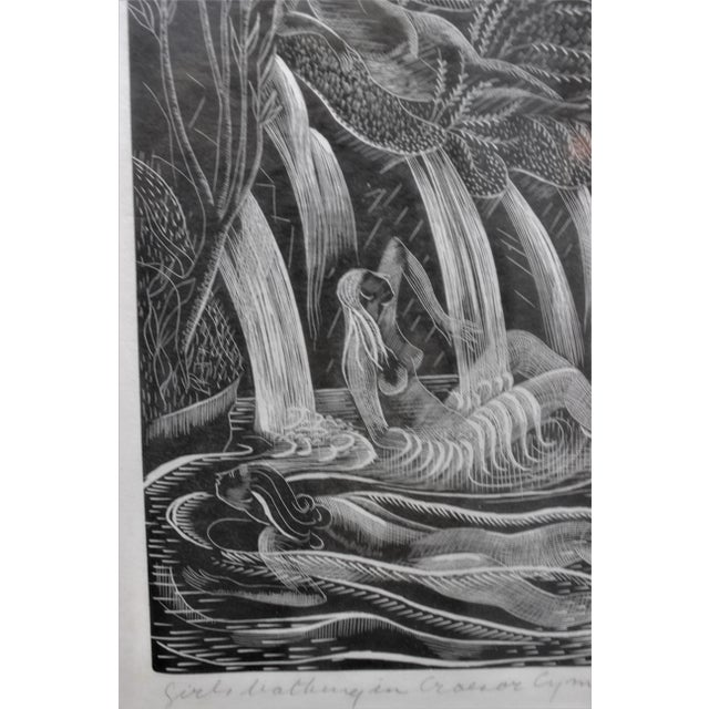 "American Art Deco Etching ""Girls Bathing in Craesor Gym"" 3/30 Ed by M. E. Groom 1920s For Sale - Image 9 of 13"