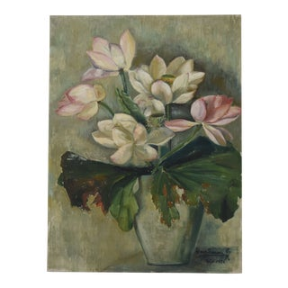 Circa 1936 Artist Signed Cream & Rose Water Lilies in Vase Oil Painting